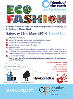 Camden Friends of the Earth Eco Fashion pop-up Saturday 22 March 2014