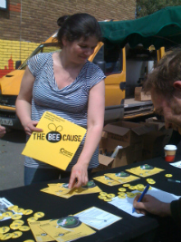 Jess on our Bee Cause stall at the Farmers Market